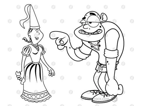A black and white drawing of a Princess and an Ogre.