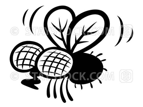 A cartoon stylised black fly insect vector.