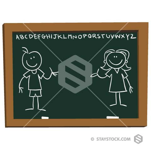 Blackboard with chalk illustration of boy and girl stick figures.