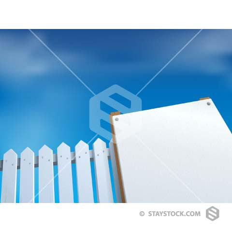 A Blank Real Estate sign next to a white picket fence.
