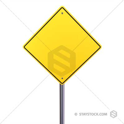 A blank yellow road sign.