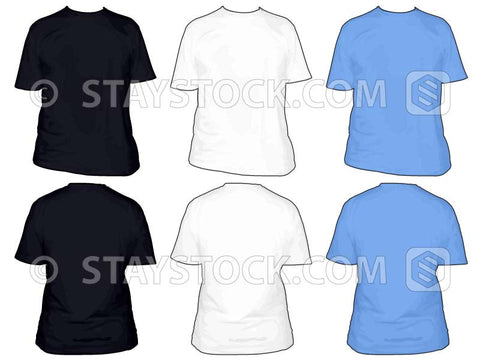 Blank T Shirts in three colors, back and front views.