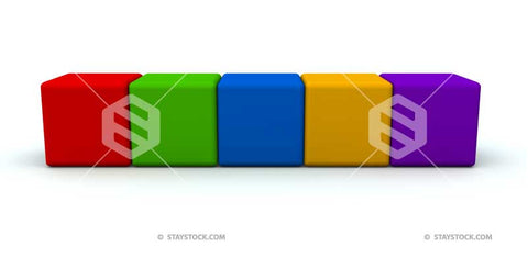 Five multicolored cubes or blocks in a row.