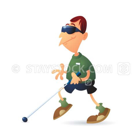 A blind man walking with his cane and sunglasses on.