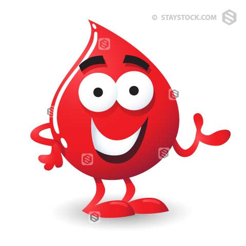 a cartoon character of a drop of blood.