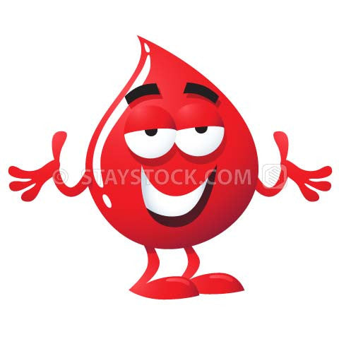 A blood droplet cartoon character smiles and gestures with both hands raised.