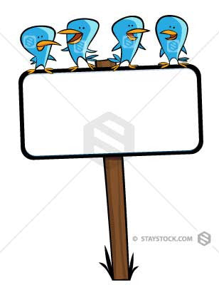 Some cartoon blue birds sitting on top of a blank sign.