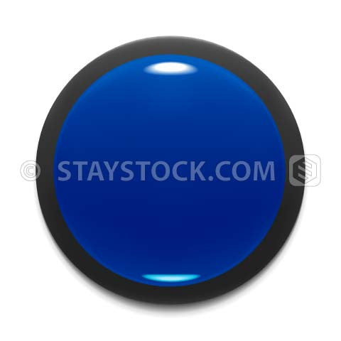 A round blue push button design element on a white background.