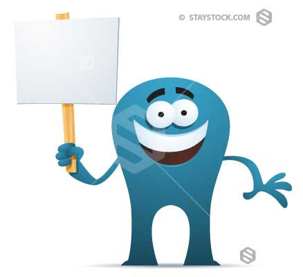 A cartoon character holding a black sign.