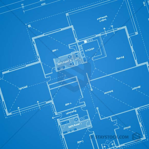 A blue print of a house.