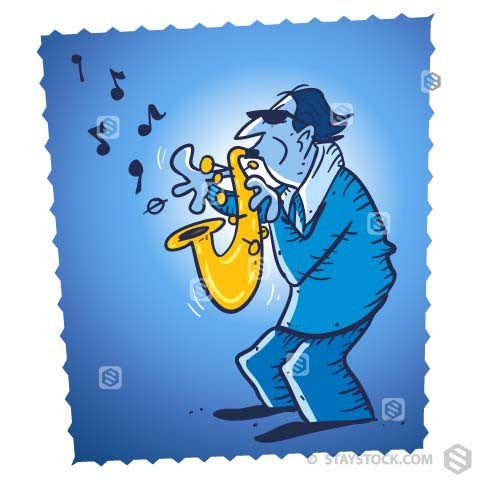 A blue man playing blues music on a saxophone on a blue background.