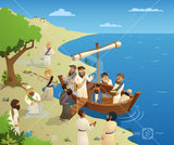 Jesus and his disciples board a fishing boat ready to cross the lake.