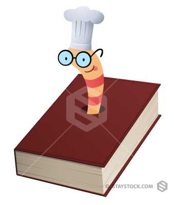 A bookworm wearing a cooks hat.