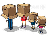 A cartoon family wearing boxes on their heads.