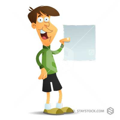 A cartoon boy holding a blank paper document.