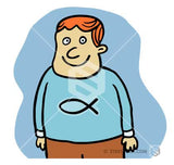 A cartoon boy with a christian fish on his shirt.