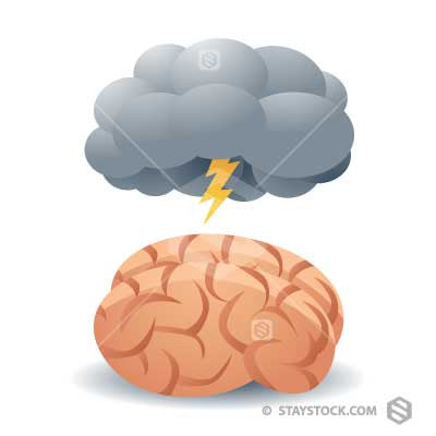 A storm cloud over a brain representing brainstorming.