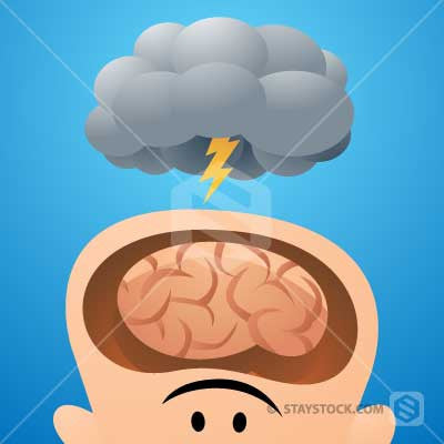 A storm cloud above a head with a brain cutaway representing brainstorming.