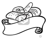 Bread items behind a ribbon banner in black and white.