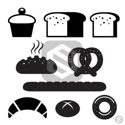 Bread Black clipart icons.