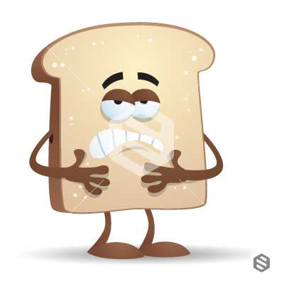 Bread Character feeling sick, Unwell