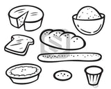 Bread Products black and white clipart