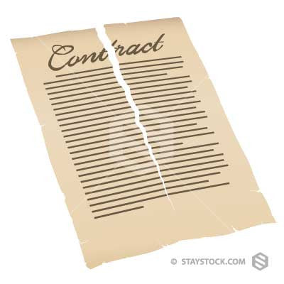 A contract is torn in half symbolising the breaking of a contract.