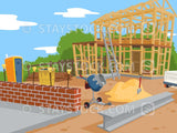 A building construction site scene.