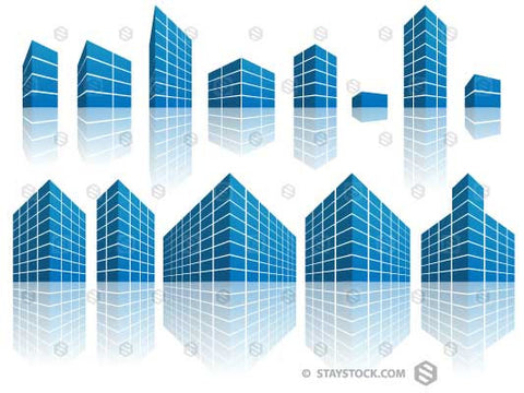 Multiple stylised office building icons.