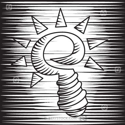 Black and white ink illustration of a stylised light bulb