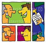 Cartoon frames showing different faces talking and dealign with contracts or documents.