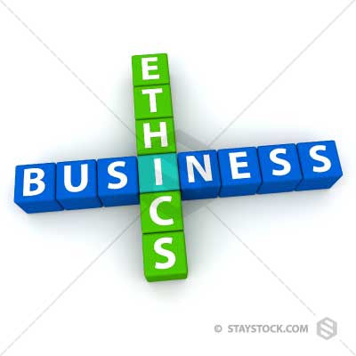 The words Business and Ethics as crosswords.