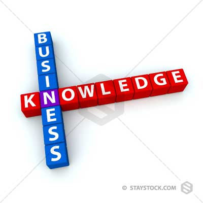 The words Business and Knowledge as crosswords.