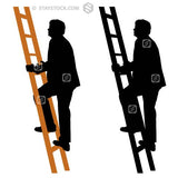 A silhouette illustration of a business man climbing the ladder to success