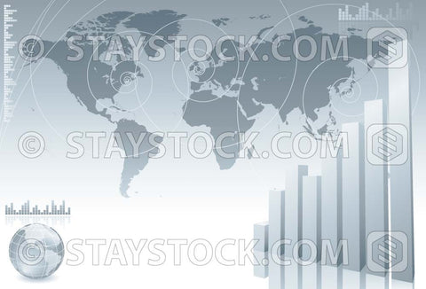 A silver business themed background featuring a world map globe and upwards bar graph.