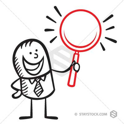 A cartoon businessman holding a magnifying glass.