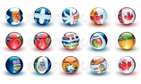 15 Canadian Provincial flags on beautiful shiny spheres. Perfect for website buttons.