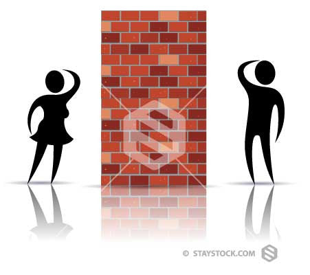 One person can't see the other past a brick wall.