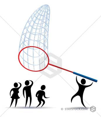 One person is trying to capture others with a giant net.