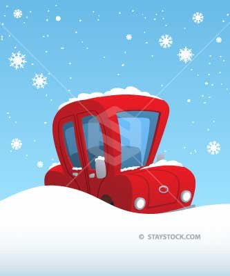 A cute red cartoon car stuck deep in snow.
