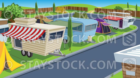 A caravan trailer park background scene.