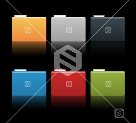Cardboard Folders in multiple colours on black background.
