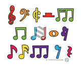 Cartoon Colorful Musical Notes