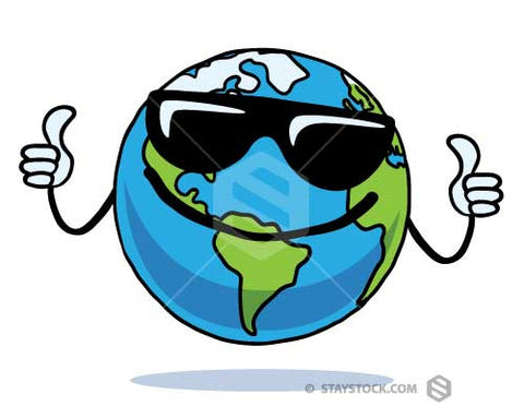A cool cartoon of planet earth wearing sunglasses and giving two thumbs up.