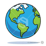 A floating cartoon Earth with a black outline on a white background.