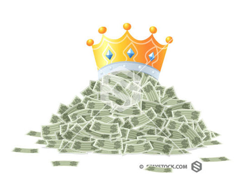 A pile of cash with a crown on top representing the phrase Cash Is King.