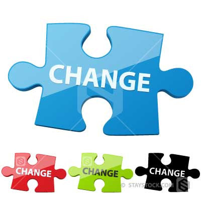 A Jigsaw Puzzle piece with the word change on top.