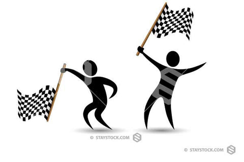 A simple black figure waving a Checkered Flag