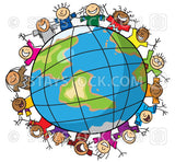 A cartoon illustration of many children around the edge of planet earth.