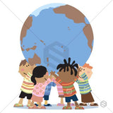 Children with large earth ball, holding it up high.